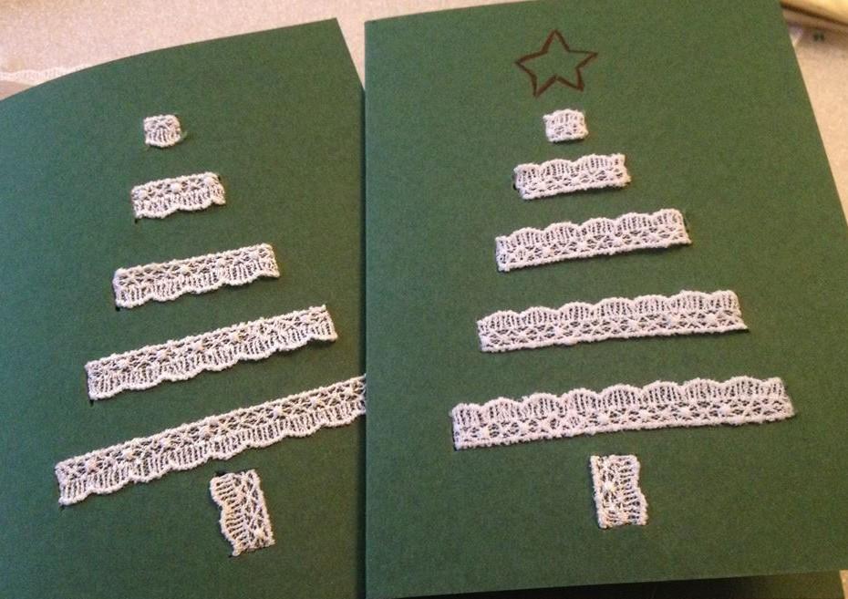 Türchen Nummer 19 – Weihnachtskarte mit Spitzenbäumchen DIY